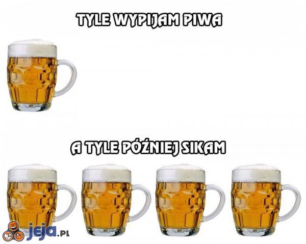 Tyle wypijam piwa, a tyle później sikam