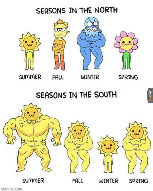 Pory roku na północy i południu