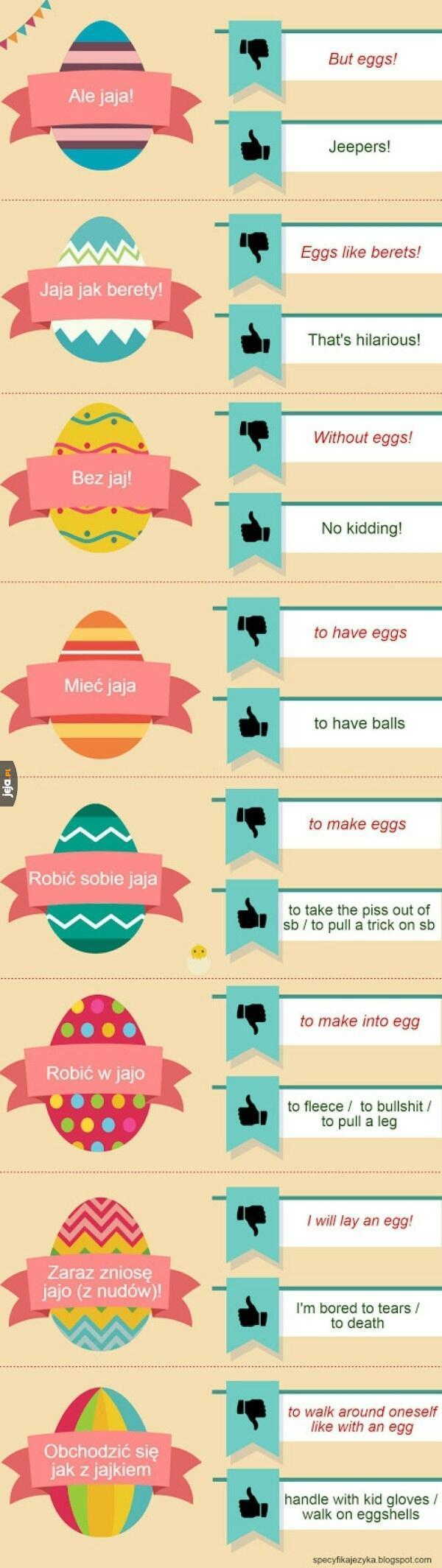Polskie jajeczne powiedzenia po angielsku
