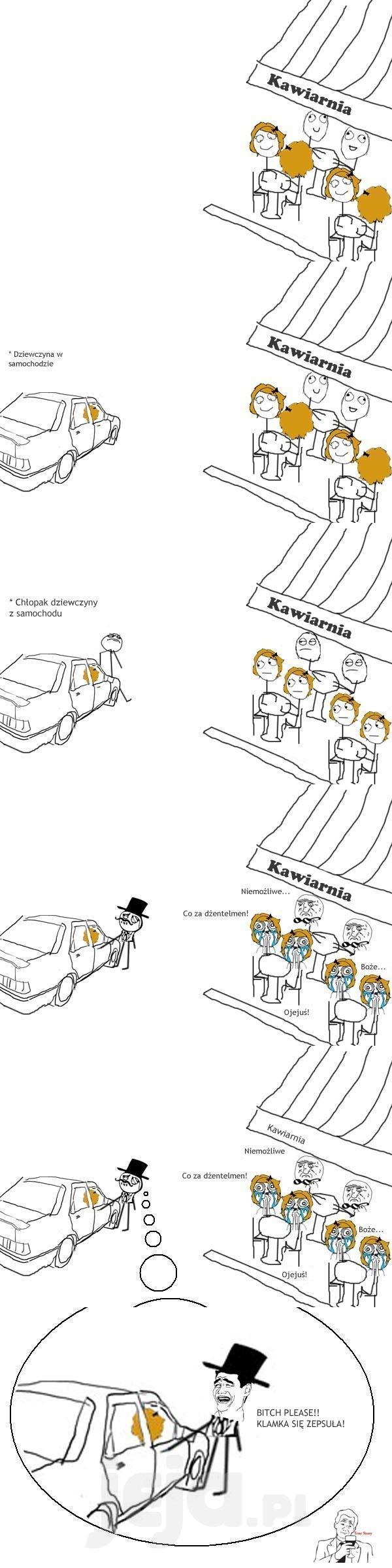 Dżentelmen otwiera drzwi do samochodu
