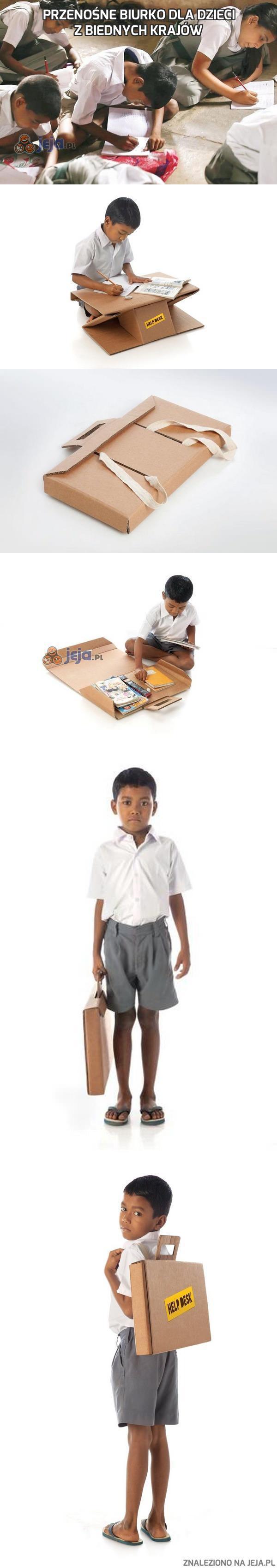 Przenośne biurko dla dzieci z biednych krajów