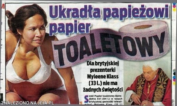 Ukradła papieżowi papier toaletowy!