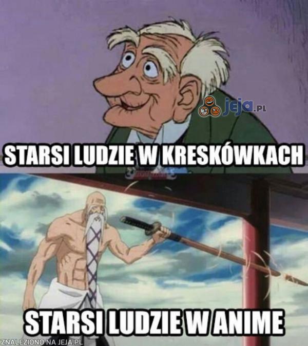 Starsi ludzie w kreskówkach i w anime
