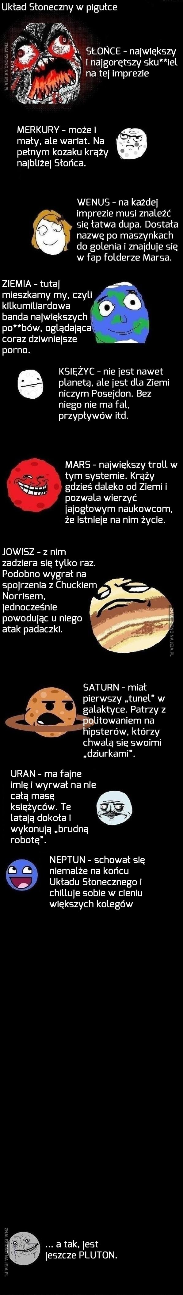 Lekcja układu słonecznego z memami