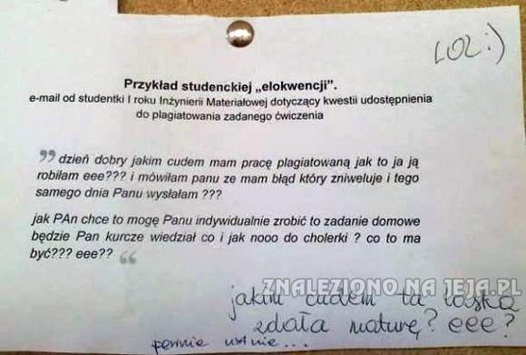 List elokwentnej studentki do profesora