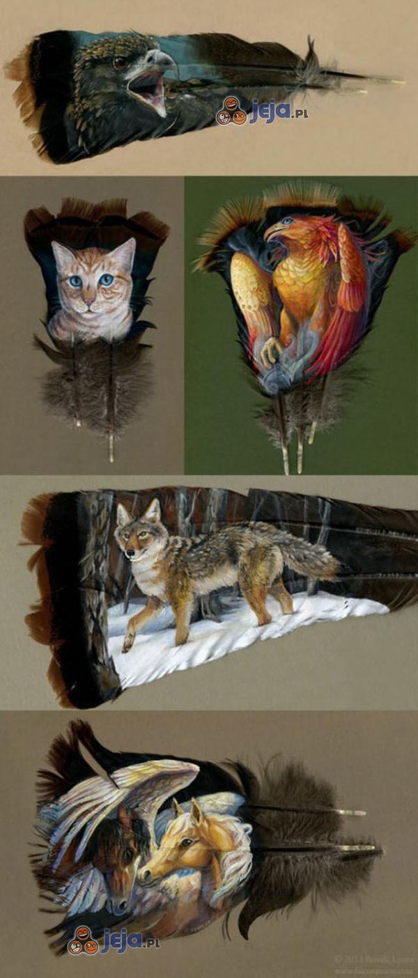 Ręczne malowanie na piórach