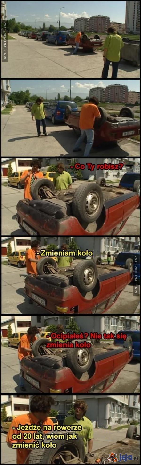 Zmiana koła w samochodzie