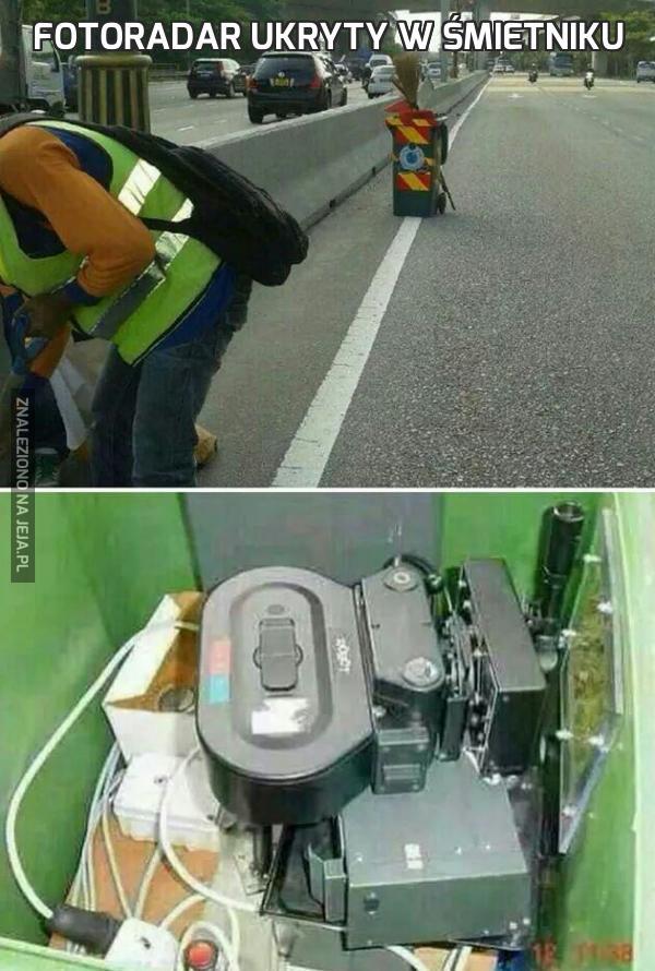 Fotoradar ukryty w śmietniku
