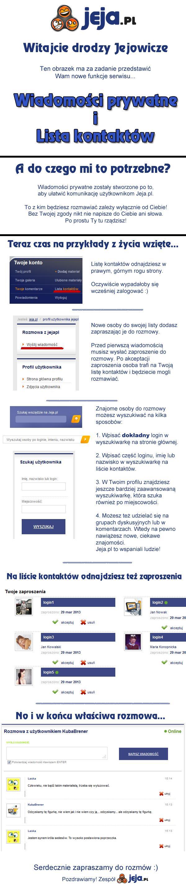 Wiadomości prywatne i lista kontaktów