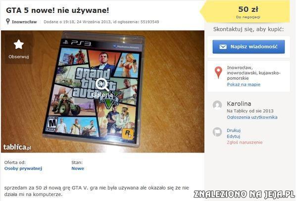 Sprzedaż GTA V...