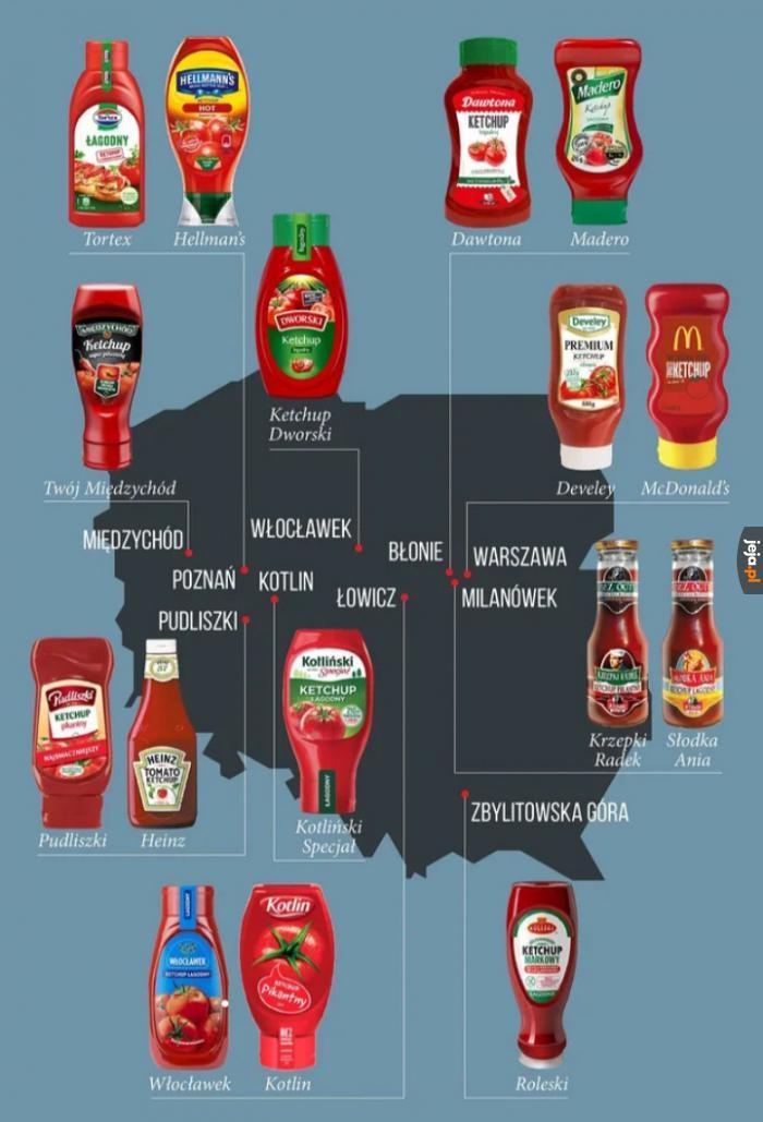 Mapa keczupów, jakby ktoś chciał