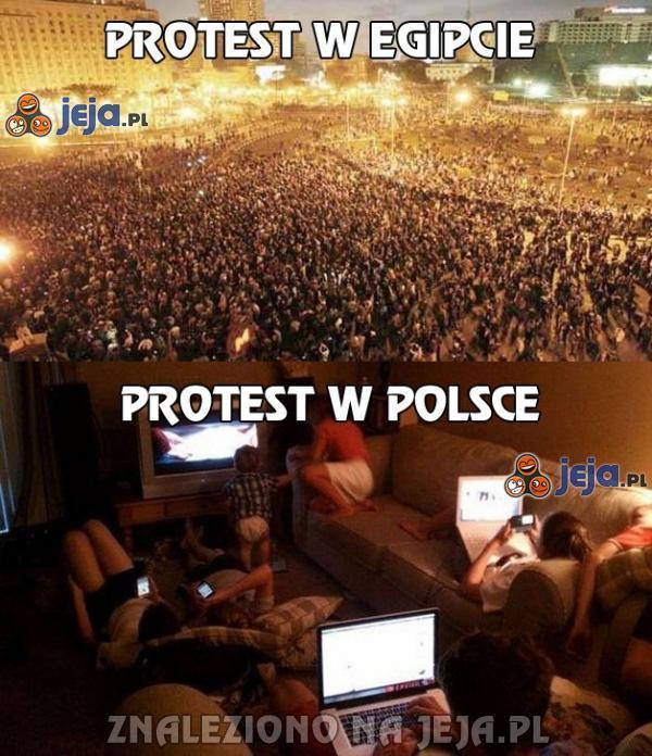 Protest w Egipcie vs protest w Polsce