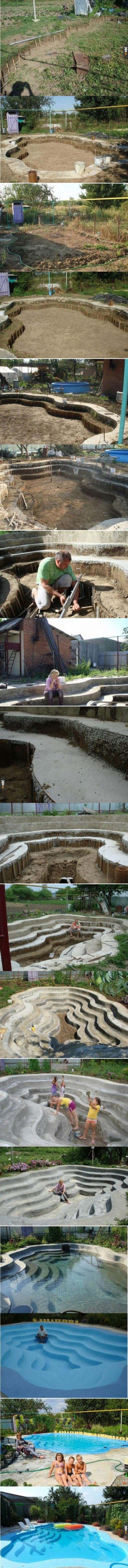 Własnoręcznie wybudowany basen