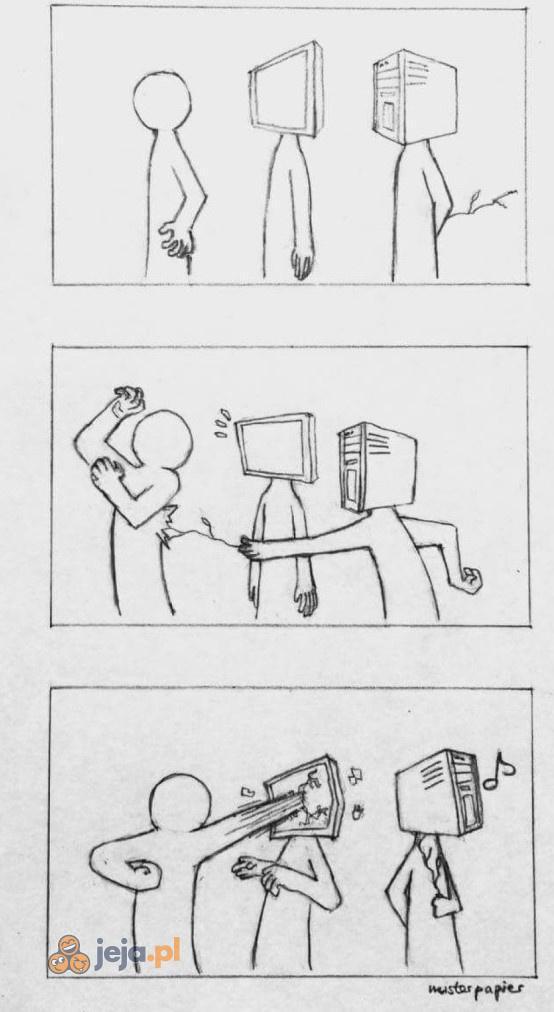 Zawsze obrywa monitor