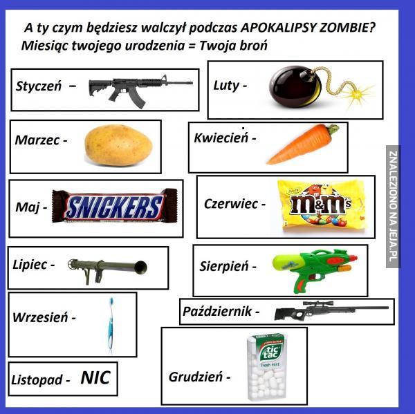 A Ty czym będziesz walczył podczas apokalipsy zombie?