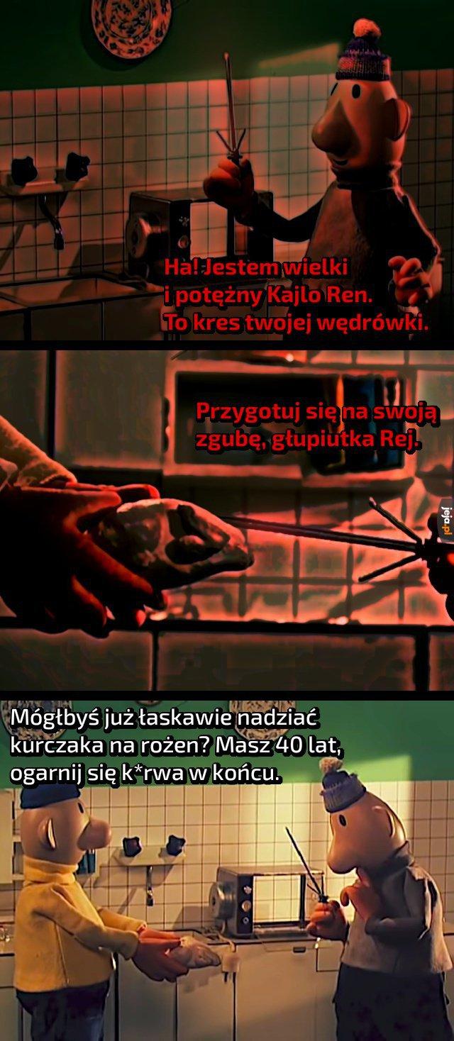Czerwonym tekstem oznaczono wypowiedzi w pradawnym języku Sithów