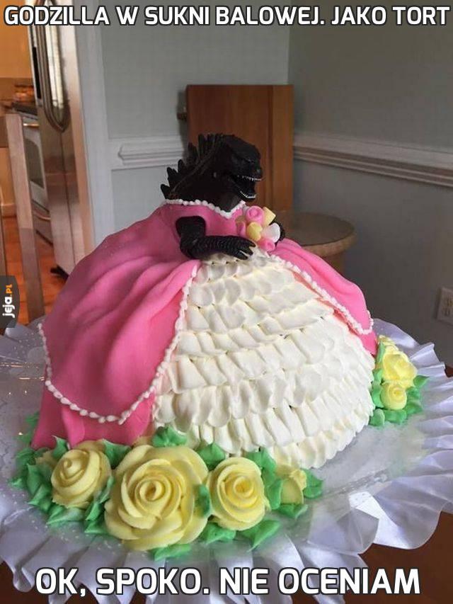 Godzilla w sukni balowej. Jako tort