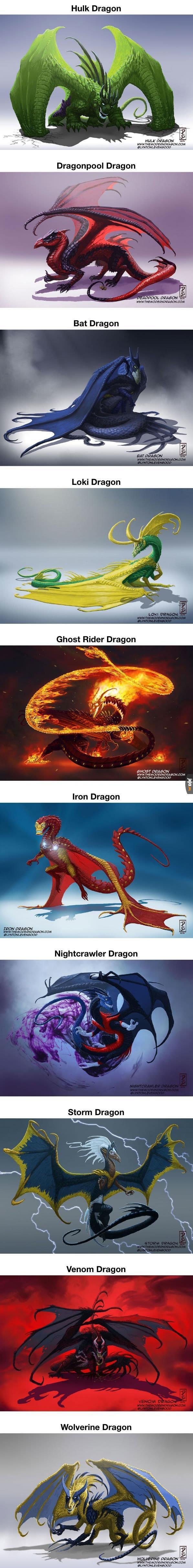 Popularne postaci z komiksów jako smoki