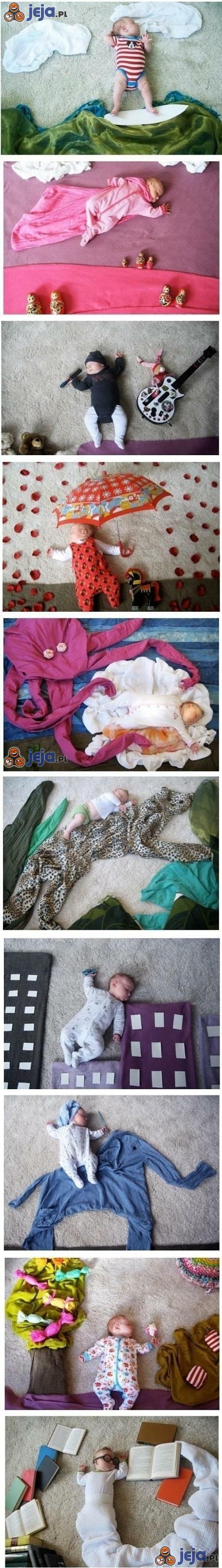 Kreatywne zdjęcia, gdy sam model twardo śpi