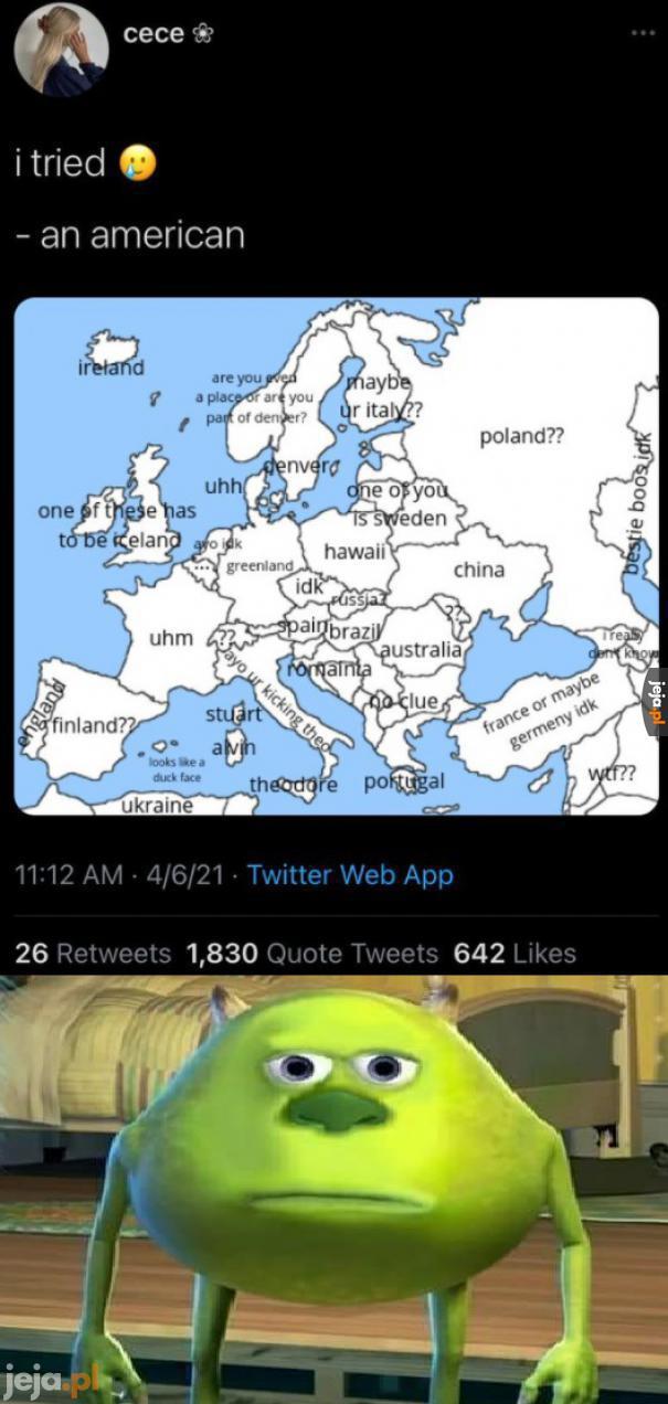 Amerykanin wypełnia mapę Europy