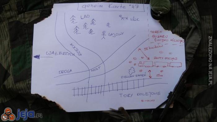 Mapa z lokalizacją Złotego Pociągu specjalnie dla Jejowiczów!