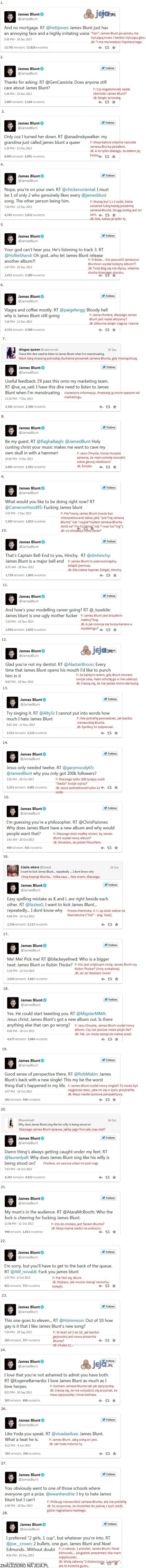 James Blunt i jego cięte riposty na Twitterze
