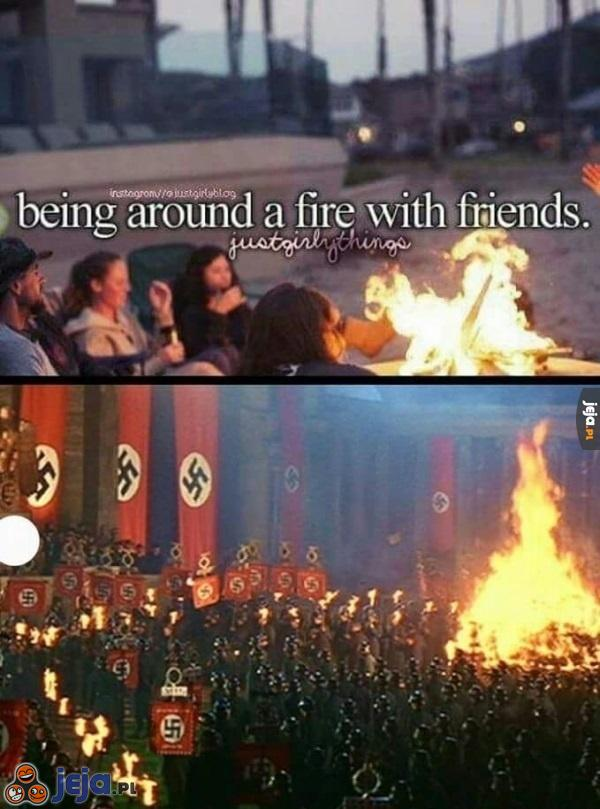Ognisko z przyjaciółmi