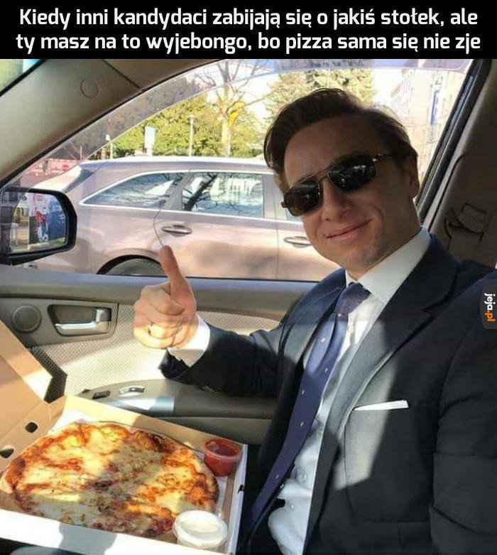 Pizza jest pyszna, ale stołka może przez to nie zdobyć