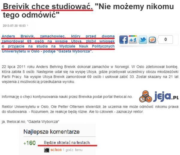 Breivik chce studiować