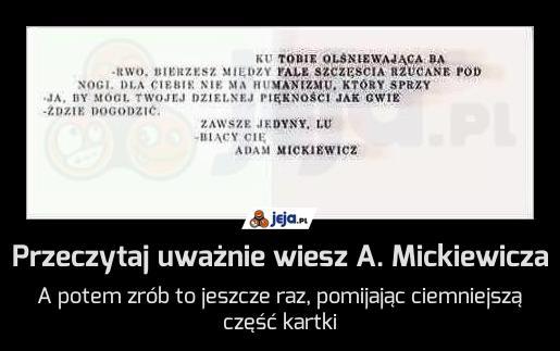 Przeczytaj uważnie wiesz A. Mickiewicza