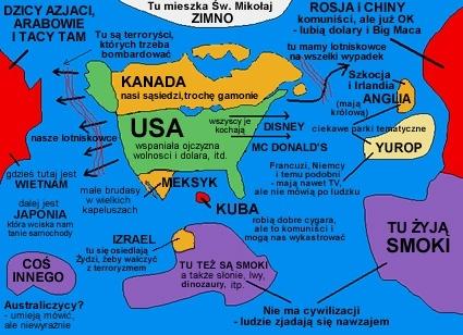 Mapa Świata wg Amerykanów