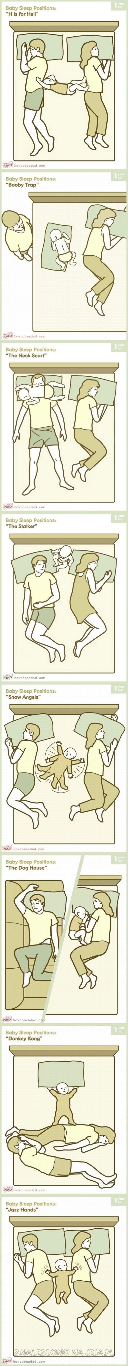 Pozycje dziecka śpiącego z rodzicami