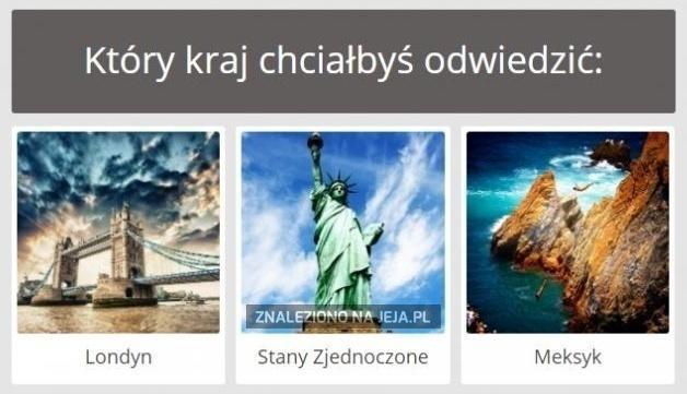 Który kraj chciałbyś odwiedzić?