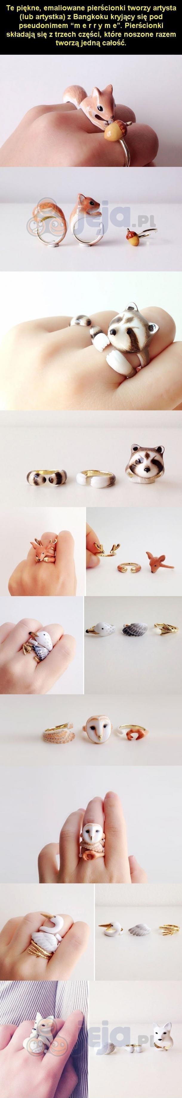 Trzyczęściowe pierścionki