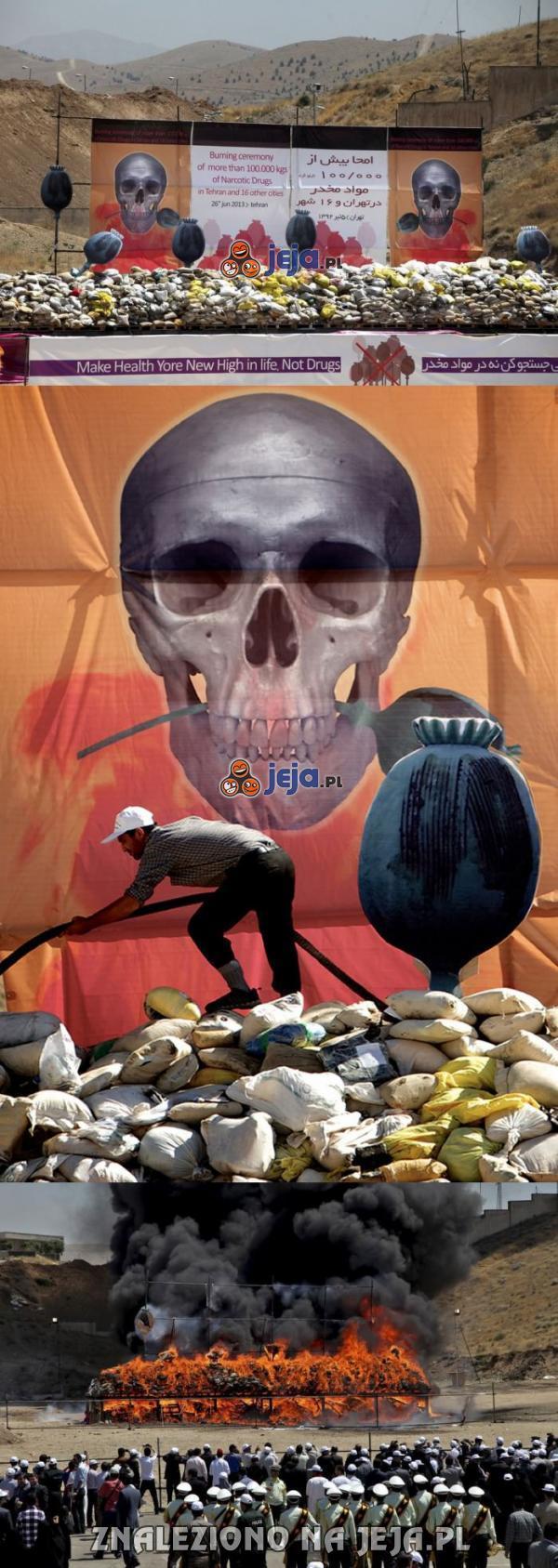 Zniszczenie 100 ton narkotyków w Iranie