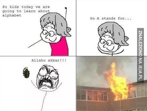 Dziś pouczymy się alfabetu. A jak Allahu akbar