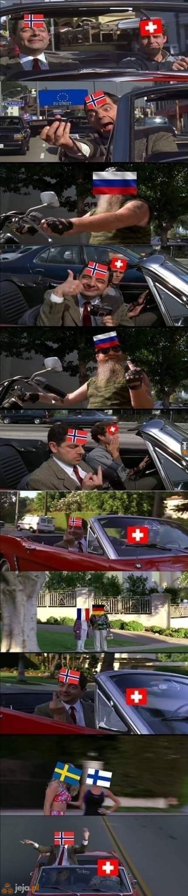 Norwegia i Szwajcaria w Europie