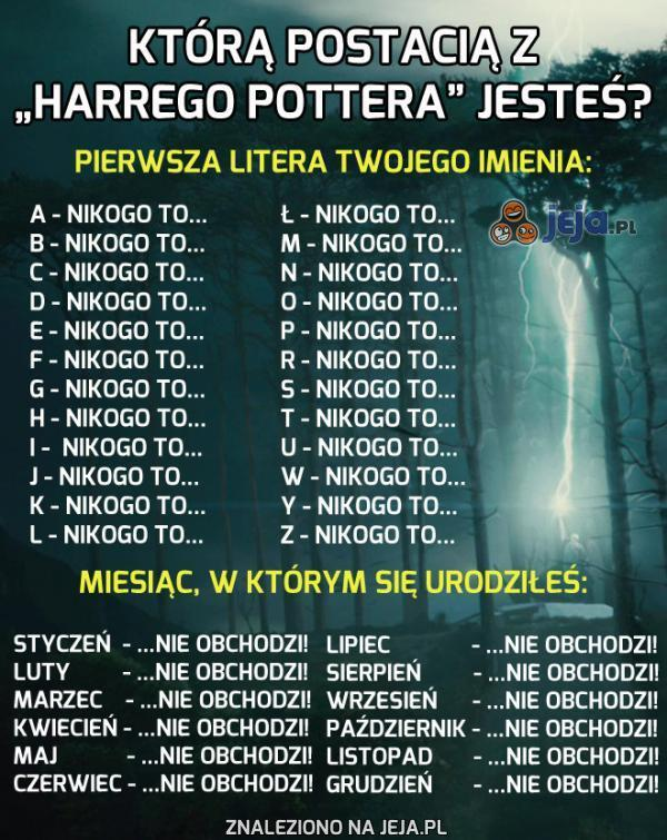 """Którą postacią z """"Harrego Pottera"""" jesteś?"""