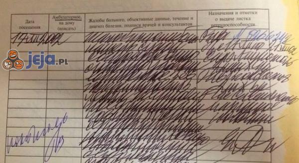 Druczek wypełniony przez rosyjskiego lekarza