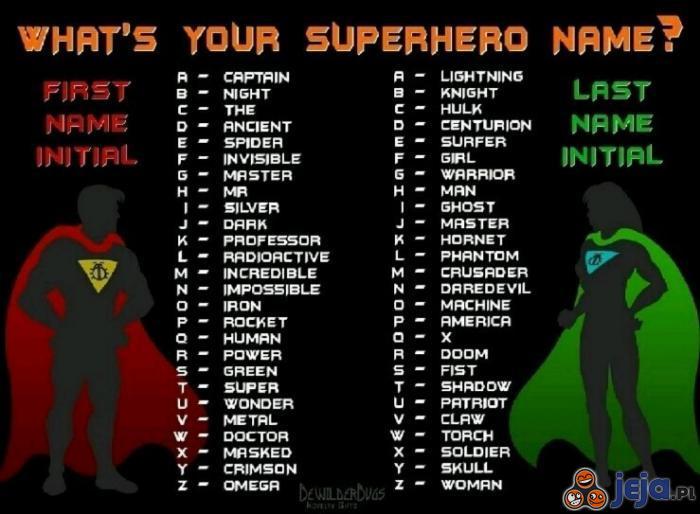 Jak brzmi Twoje angielskie imię superbohatera?