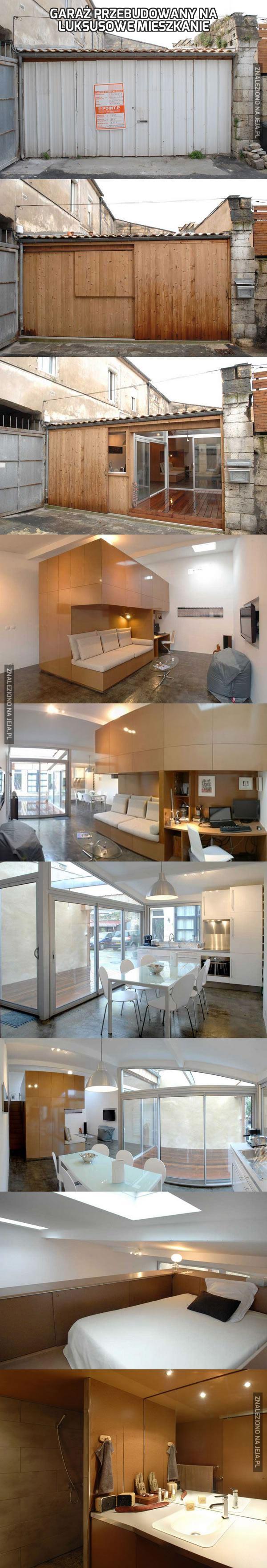 Garaż przebudowany na luksusowe mieszkanie