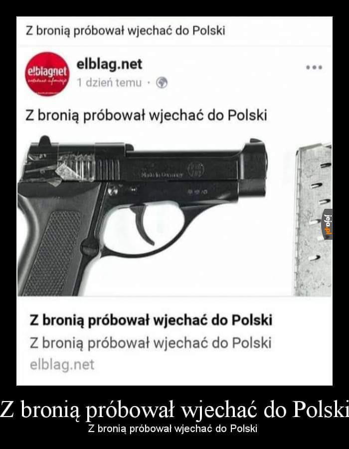 Z bronią próbował wjechać do Polski