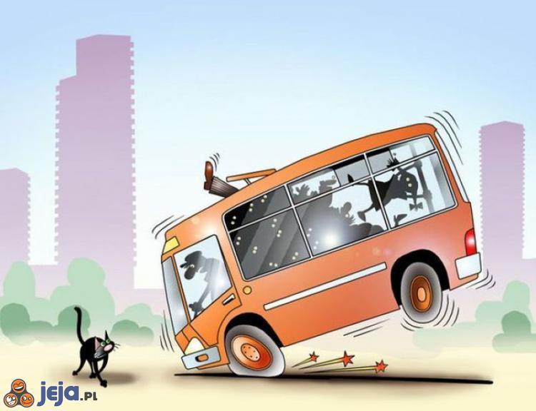 Powód ostrego hamowania autobusu