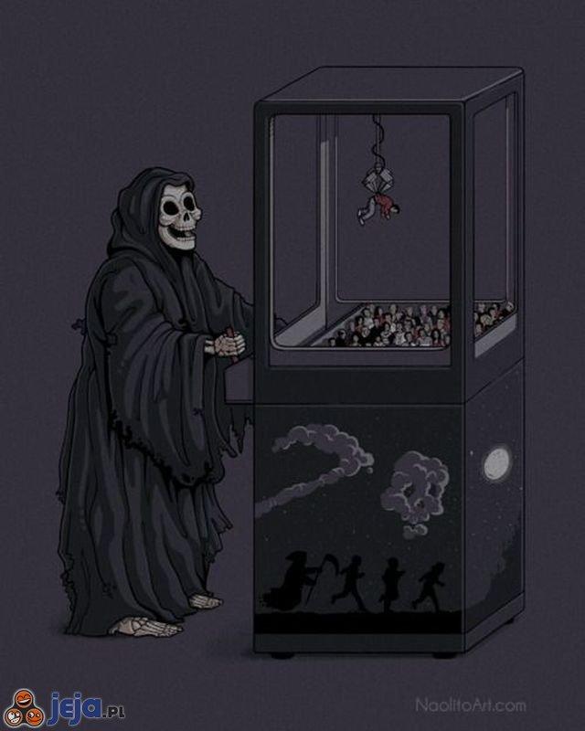 Łapa szczęścia w rękach Śmierci