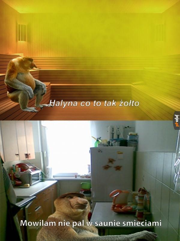 Janusz w saunie