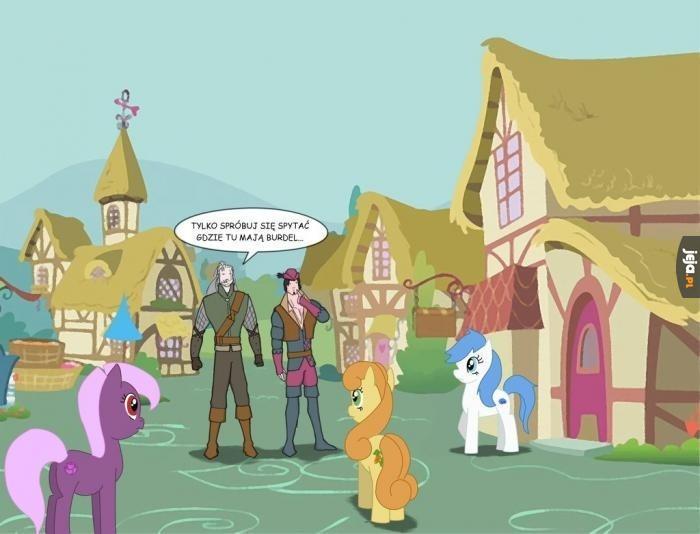 Geralt i Jaskier w świecie My Little Pony