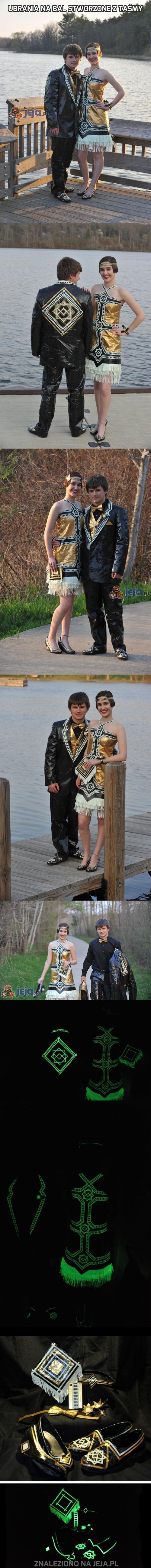 Ubrania na bal stworzone z taśmy