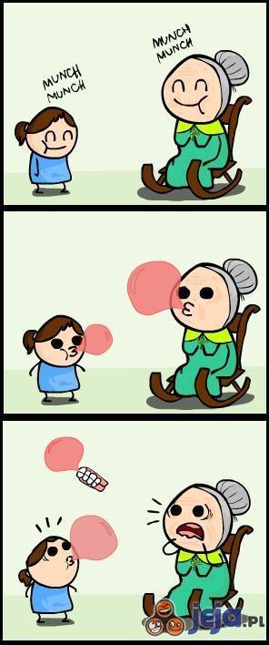 Babcia i guma balonowa