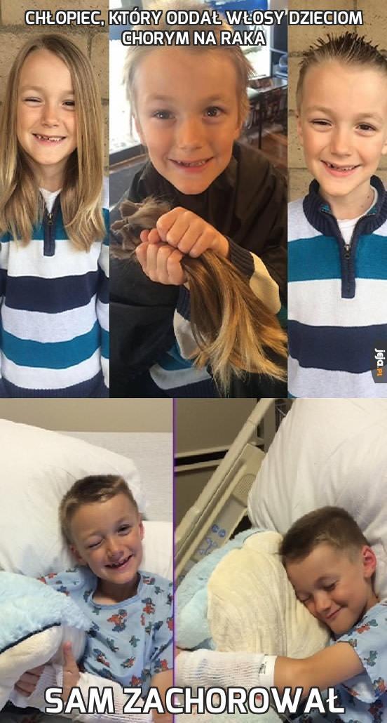 Chłopiec, który oddał włosy dzieciom chorym na raka