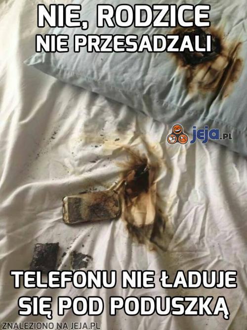 Nie ładuj telefonu pod poduszką